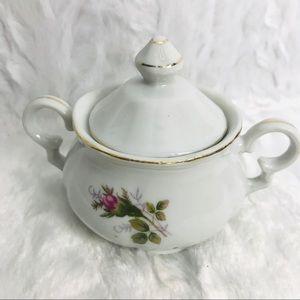 Vintage Sugar Bowl Roses Porcelain China Scalloped